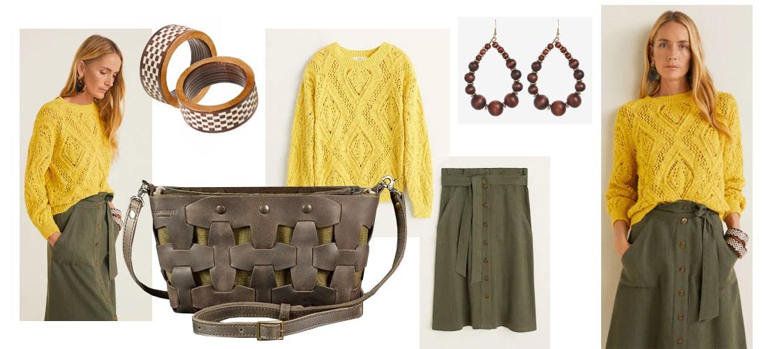 Сочетание коричневой сумки - луки, образы