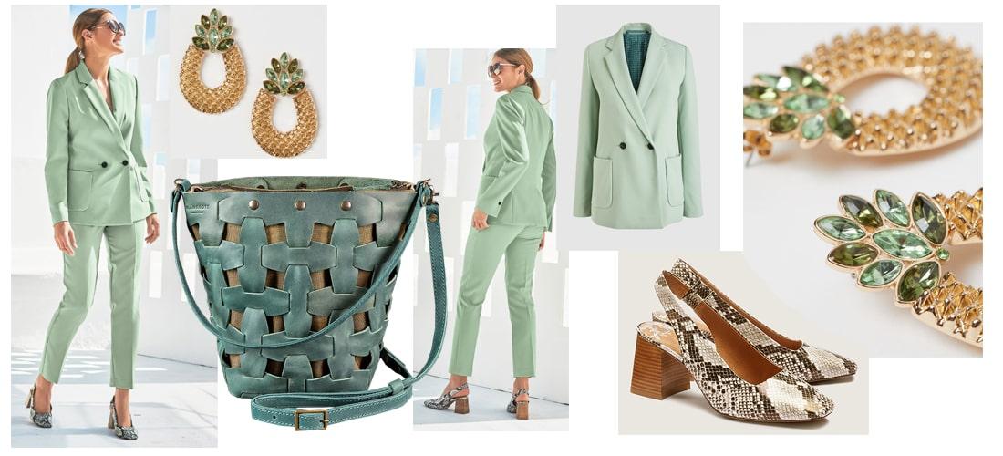 летний образ с зеленой сумкой