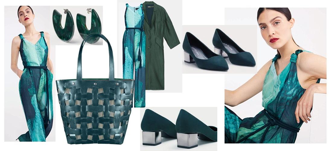 сочетание зеленой сумки с одеждой
