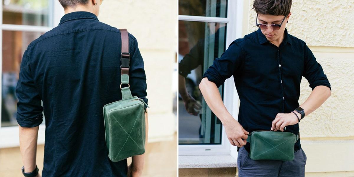 мужские поясные сумки из натуральной кожи