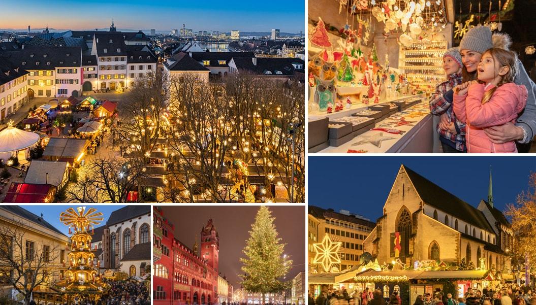 Рождественская ярмарка в городе Базель, Швейцария