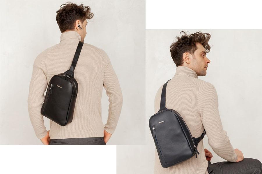 Темно-синий и черный кожаный мужской рюкзак на одно плечо Chest Bag