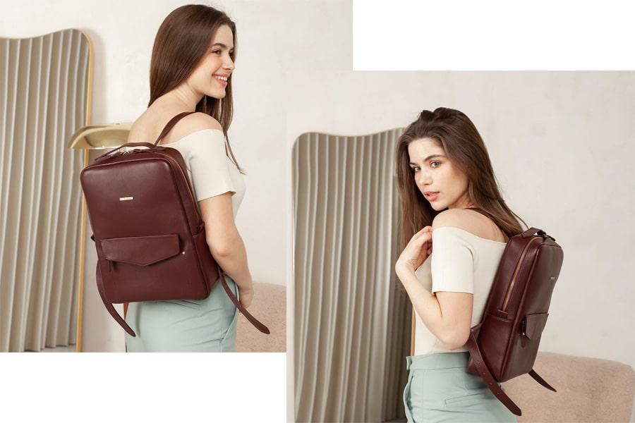 Кожаный городской женский рюкзак на молнии Cooper бордовый