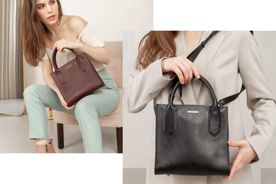Кожаная женская сумка-кроссбоди темно-синяя, черная и бордовая