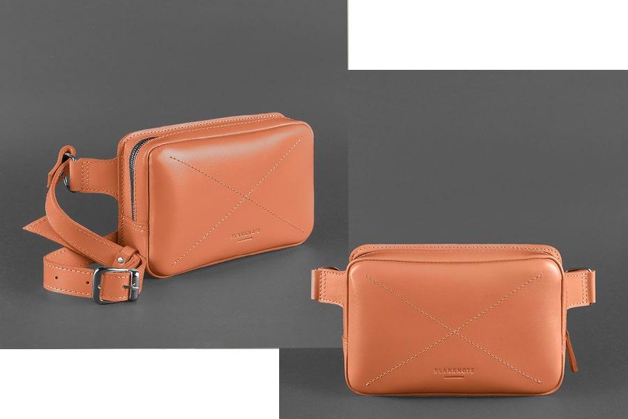 Кожаная женская поясная сумка Dropbag Mini коралловая