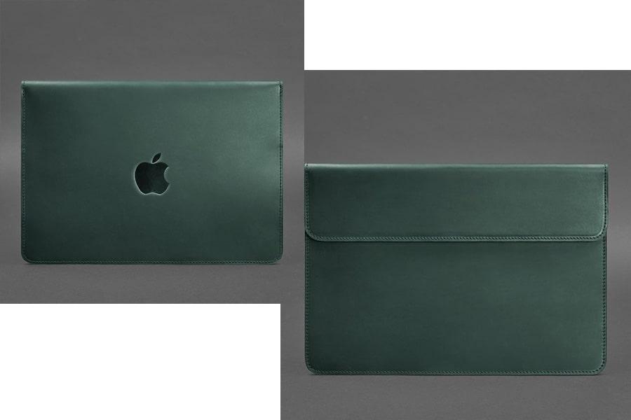 Кожаный чехол-конверт на магнитах для MacBook Pro 15-16'' Бордовый Crazy Horse и Зеленый