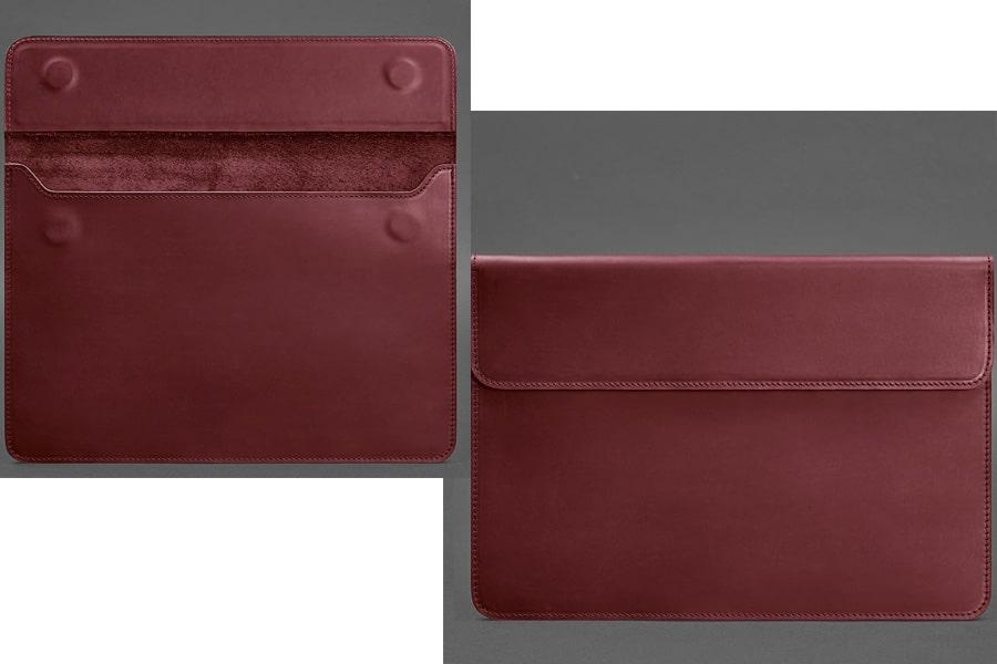Кожаный чехол-конверт на магнитах для MacBook Air/Pro 13'' Бордовый Crazy Horse и Зеленый