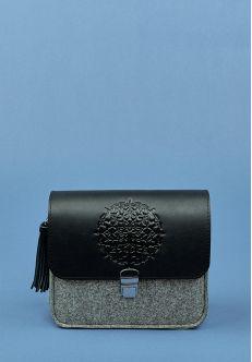 Бохо-сумка Лилу фетр+кожа графит