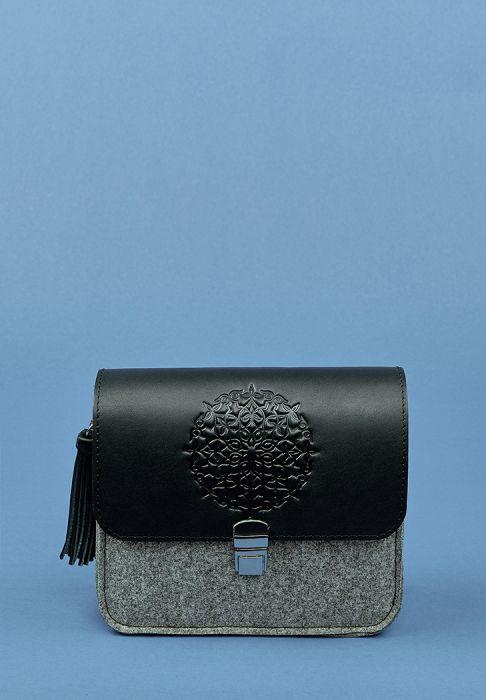 сумка  из фетра и кожи ручной работы