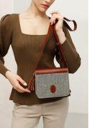 Фото Фетровая женская бохо-сумка Лилу с кожаными коричневыми вставками