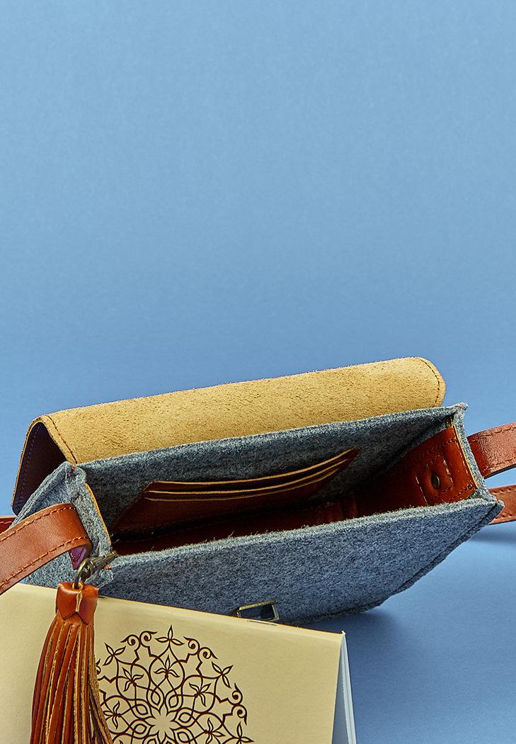68c96f32a3d2 Бохо-сумка Лилу фетр серный + коричневая кожа коньяк (BN-BAG-3-felt ...