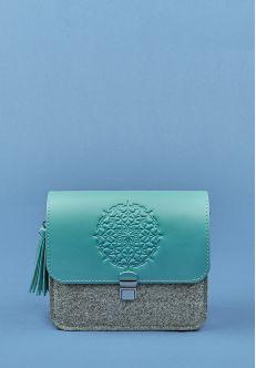Бохо-сумка Лилу фетр+кожа тиффани