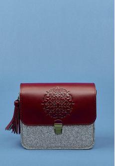 Бохо-сумка Лилу фетр+кожа виноград