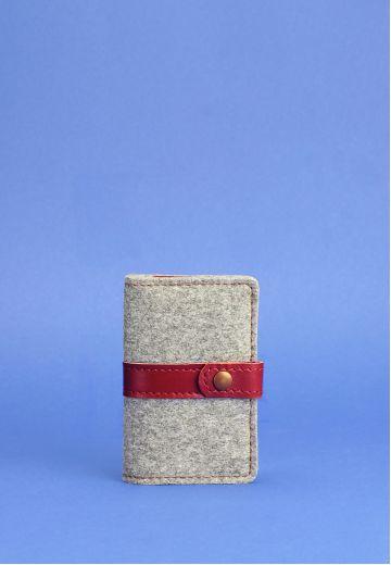 Фетровый женский кард-кейс 6.1 с кожаными бордовыми вставками