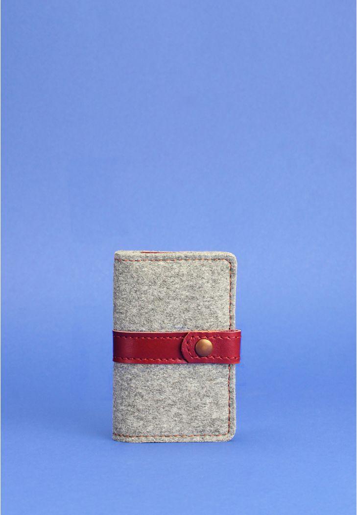 Фото Фетровый женский кард-кейс 6.1 с кожаными бордовыми вставками