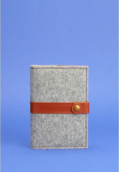 Обложка для паспорта 1.1 кожа + эко-фетр коньяк