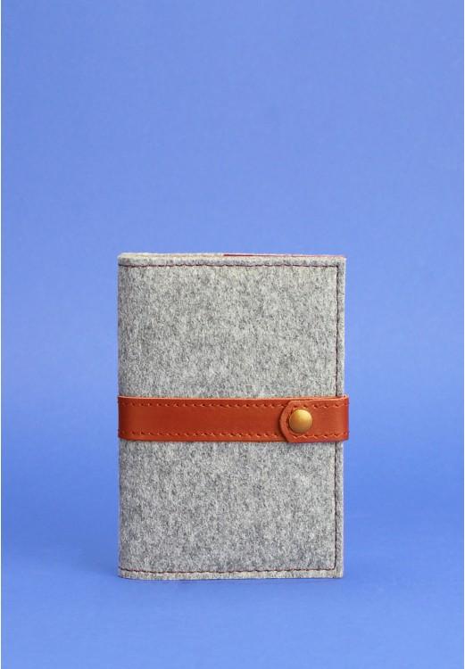 Фото Обложка для паспорта 1.1 кожа + эко-фетр коньяк BlankNote