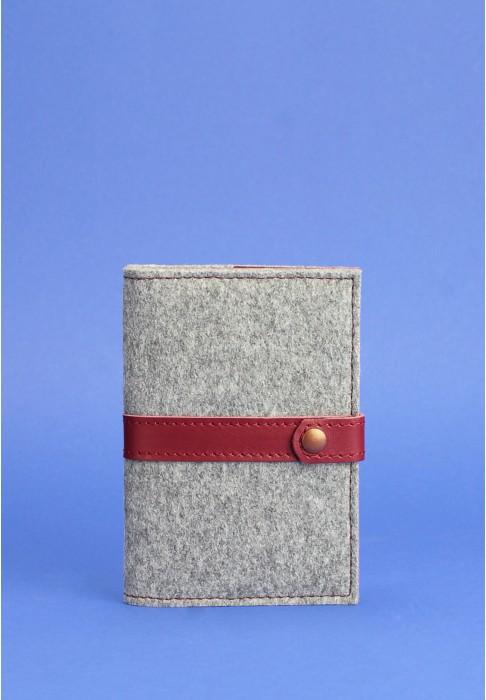Обложка для паспорта 1.1 кожа + эко-фетр виноград
