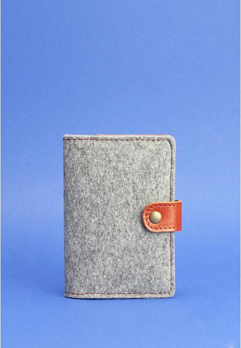 Обложка для паспорта 3.0 кожа + эко-фетр коньяк