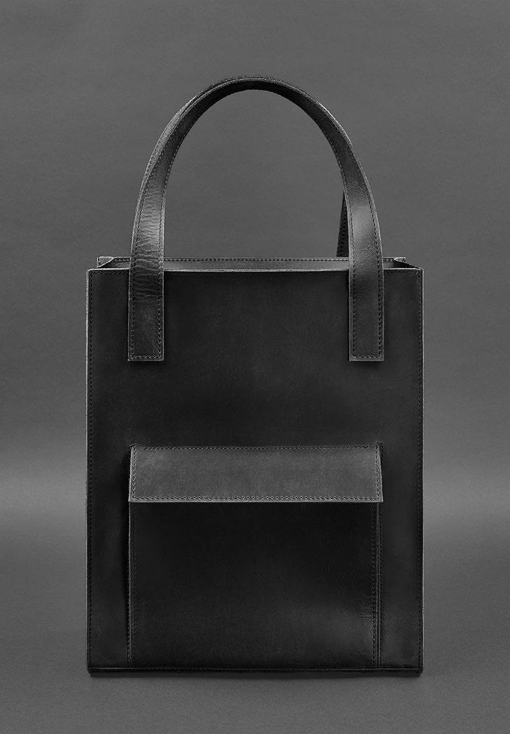 Фото Кожаная женская сумка шоппер Бэтси с карманом черная BlankNote