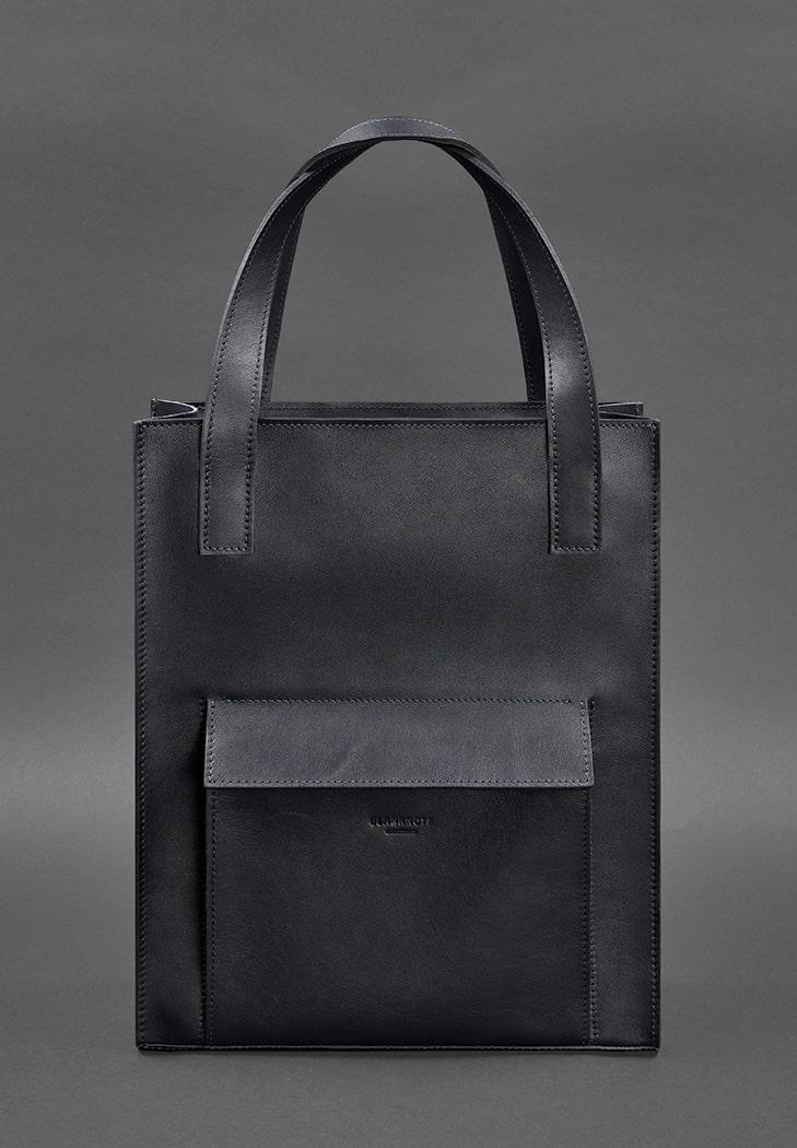 Фото Кожаная женская сумка шоппер Бэтси с карманом бордовая Краст (BN-BAG-10-1-navy-blue)