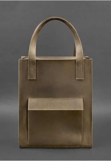 Кожаная женская сумка шоппер Бэтси с карманом темно-коричневая