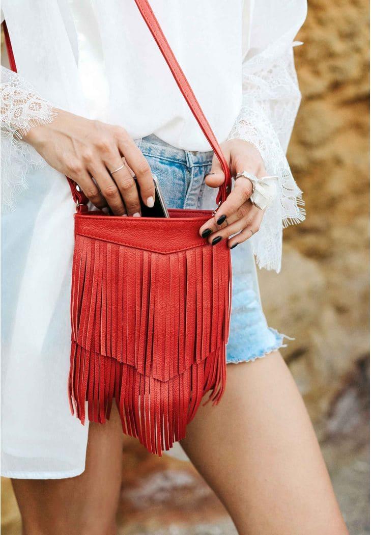 Кожаная женская сумка с бахромой мини-кроссбоди Fleco красная - BN-BAG-16-rubin