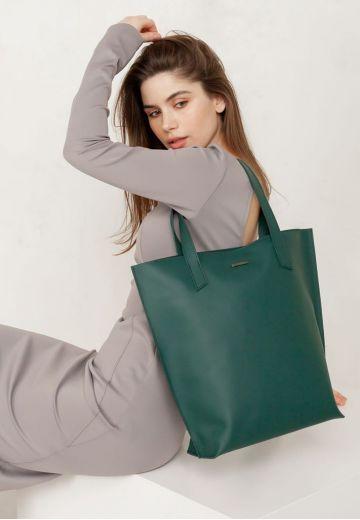 Кожаная женская сумка шоппер D.D. зеленая