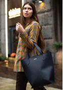 Кожаная женская сумка шоппер D.D. темно-синяя - BN-BAG-17-navy-blue