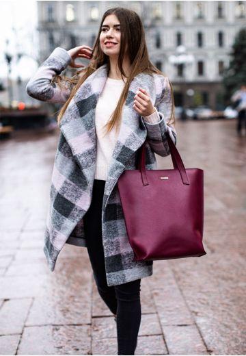 Кожаная женская сумка шоппер D.D. бордовая