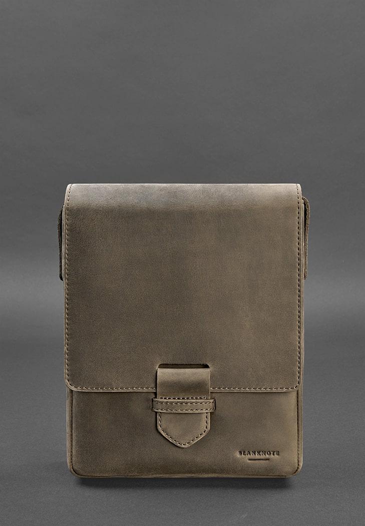 Фото Мужская кожаная сумка-мессенджер Esquire темно-коричневаяBlankNote