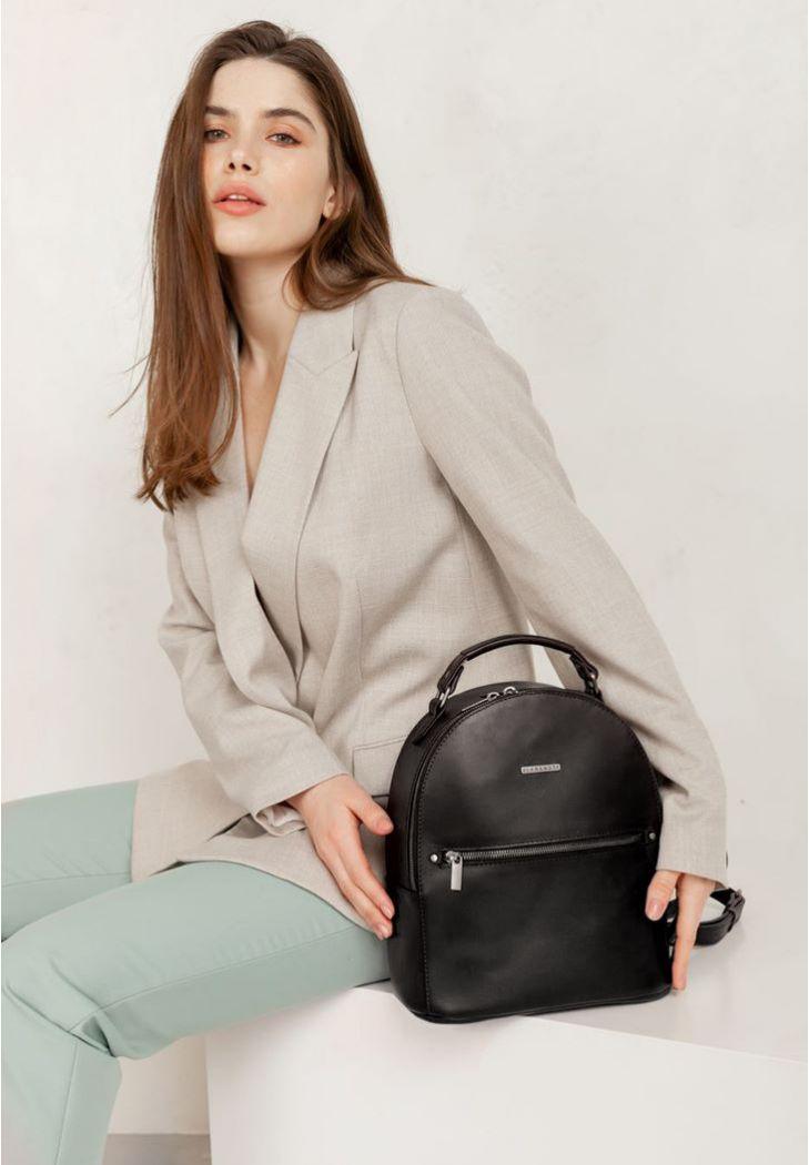 Фото Кожаный женский мини-рюкзак Kylie черный краст