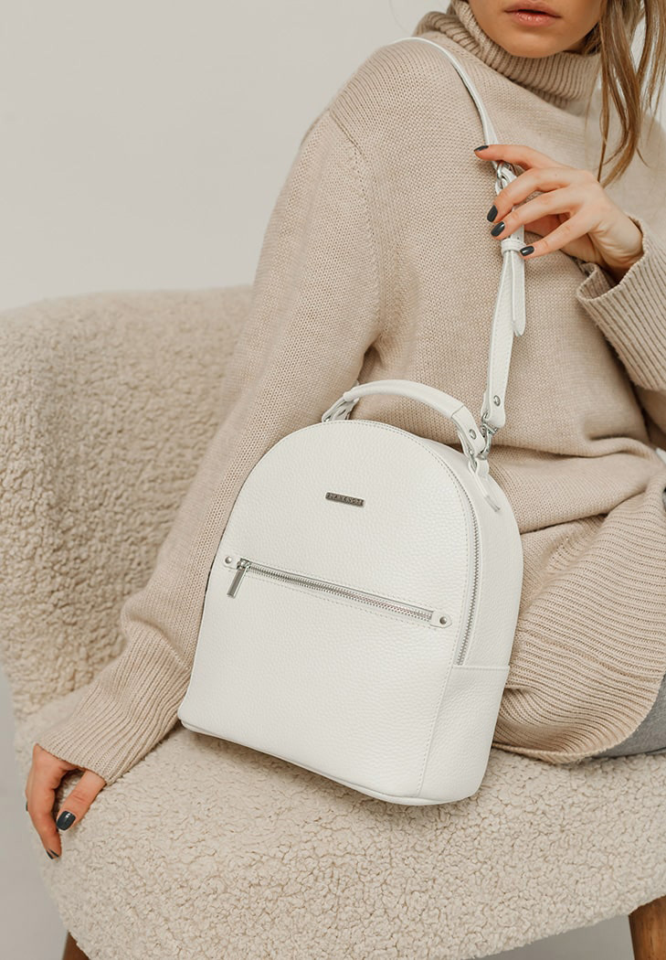Фото Кожаный женский мини-рюкзак Kylie белый