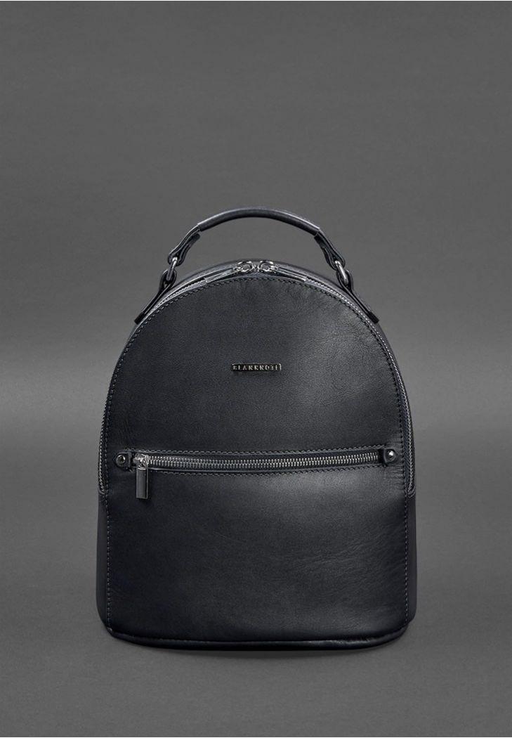 Фото Кожаный женский мини-рюкзак Kylie Темно-синий краст