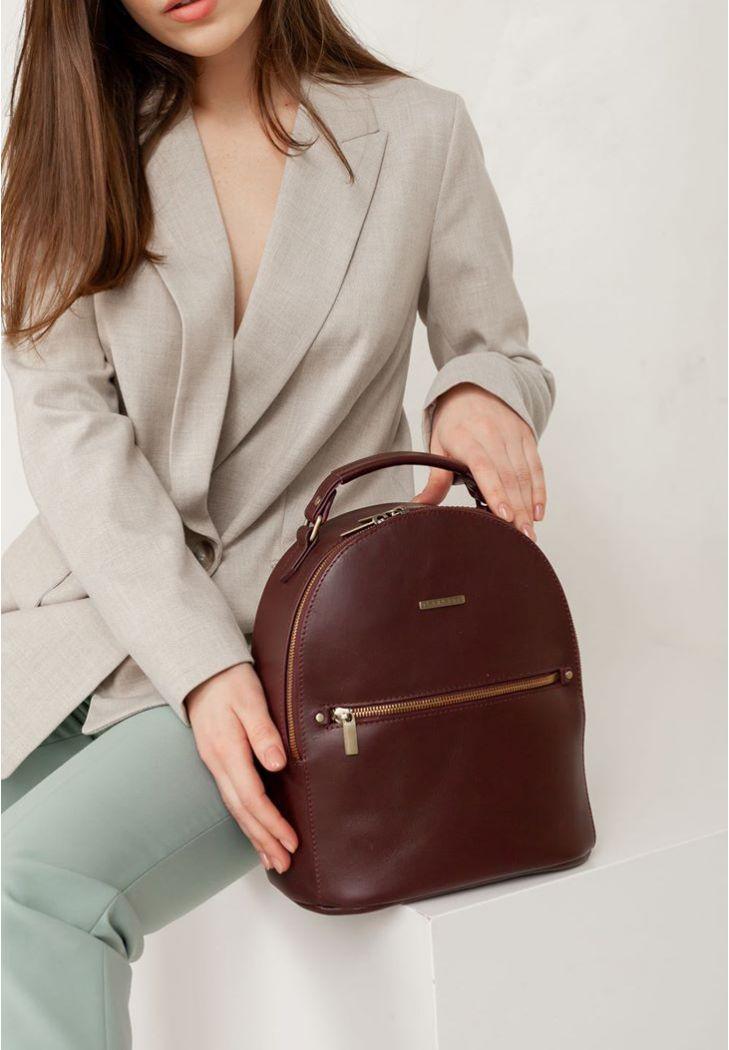 Фото Кожаный женский мини-рюкзак Kylie Бордовый краст