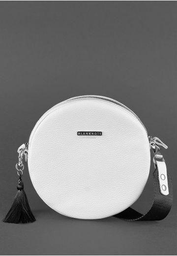 Круглая кожаная женская сумочка Tablet белая