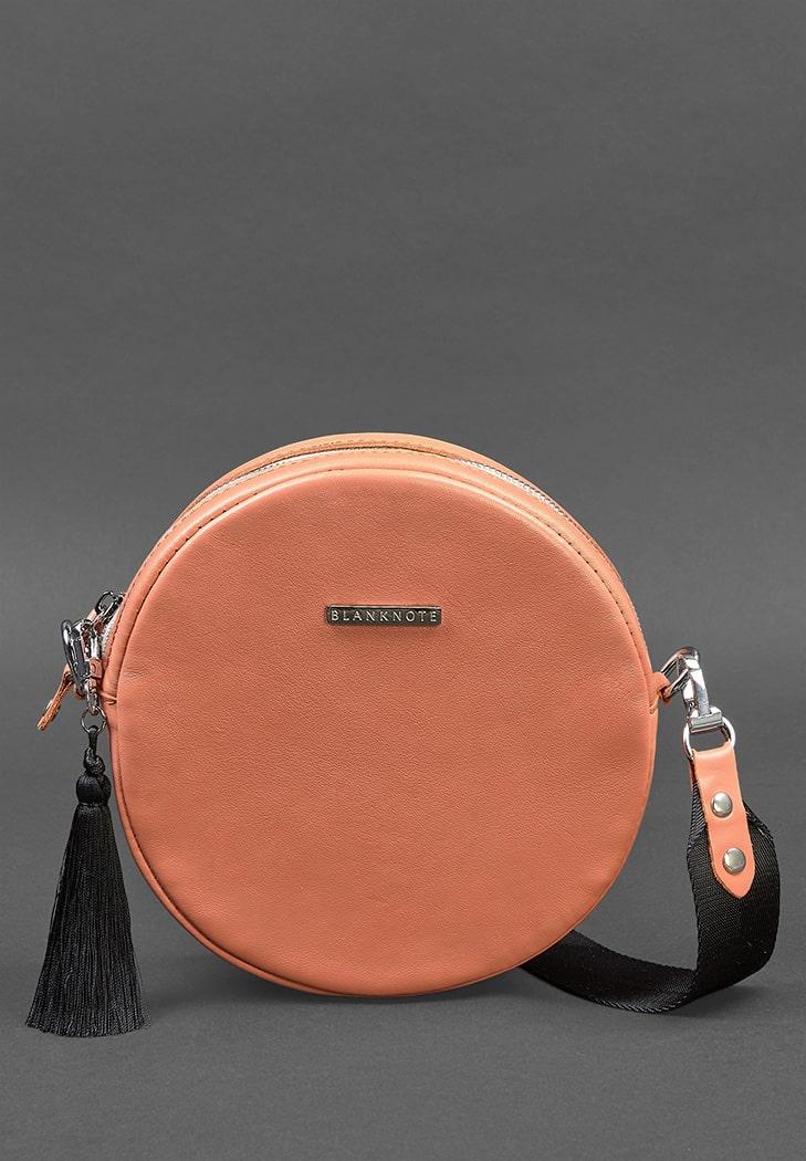 Круглая кожаная женская сумочка Tablet коралловая - BN-BAG-23-living-coral