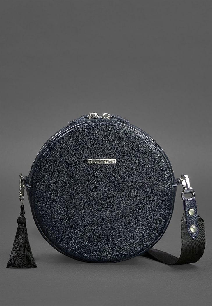 Фото Круглая кожаная женская сумочка Tablet темно-синяя