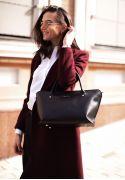 Фото Женская кожаная сумка Midi черная