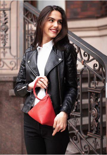 Кожаная женская сумка-косметичка Пирамида красная