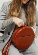 Фото Кожаная женская круглая сумка-рюкзак Maxi светло-коричневая
