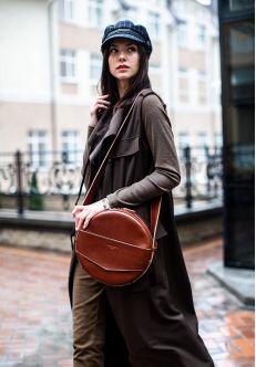 Круглая сумка-рюкзак maxi Коньяк