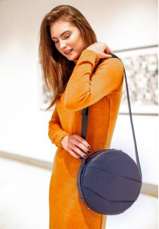 Круглая сумка-рюкзак maxi Темно-синий