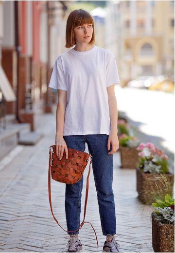 Кожаная плетеная женская сумка Пазл M светло-коричневая Crazy Horse