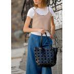 кожаная сумка оригинальная черного цвета, плетеная сумка