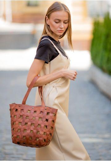 Кожаная плетеная женская сумка Пазл L светло-коричневая Crazy Horse
