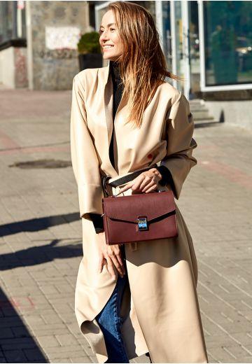 Женская кожаная сумка-кроссбоди Lola бордовая