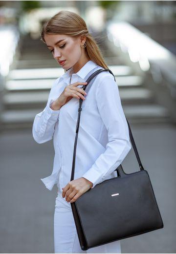 Жіноча сумка для ноутбука і документів графіт - чорна