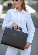 Фото Кожаная сумка для ноутбука и документов черная BlankNote