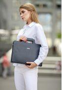 Фото Кожаная сумка для ноутбука и документов темно-синяя